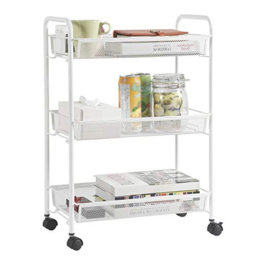 DESIGNA Rolling Household Trolley Cart, 3 Tier Slim Mesh Wire Utility Carts with Easy Moving Wheels, Steel Wire Shelves Storage Cart for Home Kitchen Bathroom Multi-Function, White