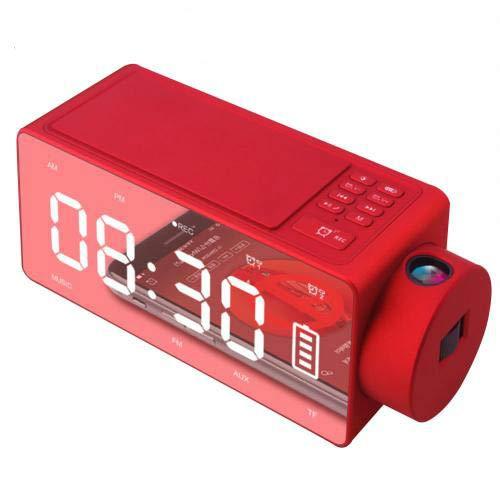 XXYYKK Teléfono Inalámbrico De Carga Pantalla Digital Despertador Posponer FM Altavoz Bluetooth Rojo