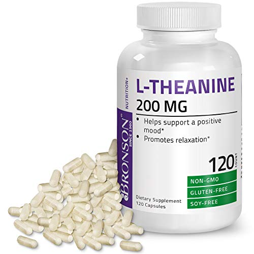 L-Theanine 200mg (Double-Strength) with Passion Flower Herb - Reducing Stress and Promoting Relaxation Without Sedation - Non GMO, 120 Capsules