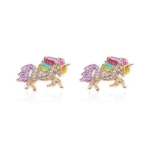 Accesorios Aretes De Unicornio De Diamantes Completos Aretes De Pony Elegantes Y Coloridos 01 pendientes KC oro 10994