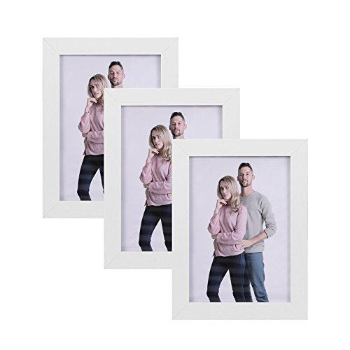 SONGMICS Juego de 3 Marcos de Fotos 13 x 18 cm, Portafotos de Madera, Vidrio Frontal, Regalo, Tablero de MDF Blanco RPF33WT