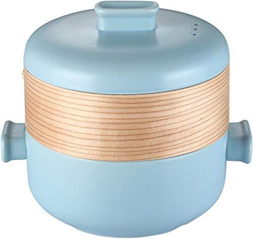 XY-M Cuisson Pot Alimentaire Steamer Pot Céramique Vapeur à Vapeur Ceramic Pans Cookware Cookware Cuisine Cuisine Cascherole avec Couvercle pour la Cuisine Cuisine Bleu 1.5 L