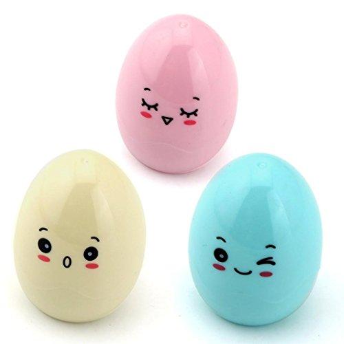 Westeng Pack de 3 Kawaii Cartoon Diseño de huevos de plástico solo agujero Sacapuntas(color al azar)