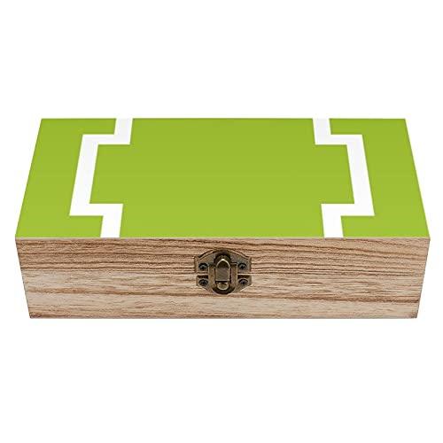 Caja decorativa de madera con borde de llave griega, color verde lima, blanco y verde lima, caja de regalo, caja de té de almacenamiento de 19 x 9 x 5.8 cm