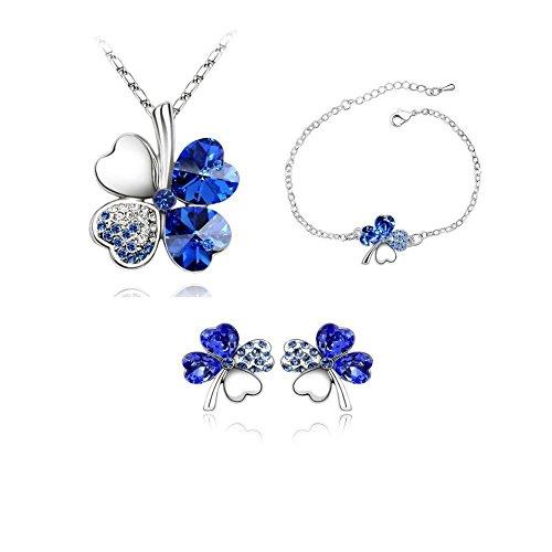 ZIZI Tanzanite Blue ~ 18K White Gold Plated ~ Love Heart Lucky Four Leaf Clover ~ Necklace, Earrings & Bracelet ~ ZiZi Gift Box