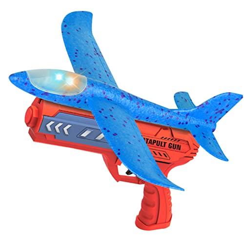 Lanzador de juguetes de avión, juguetes de avión brillantes LED, lanzando avión de espuma, lanzador de avión planeador, juguetes de vuelo al aire libre para niños y niñas de 3 4 5 6 7 años