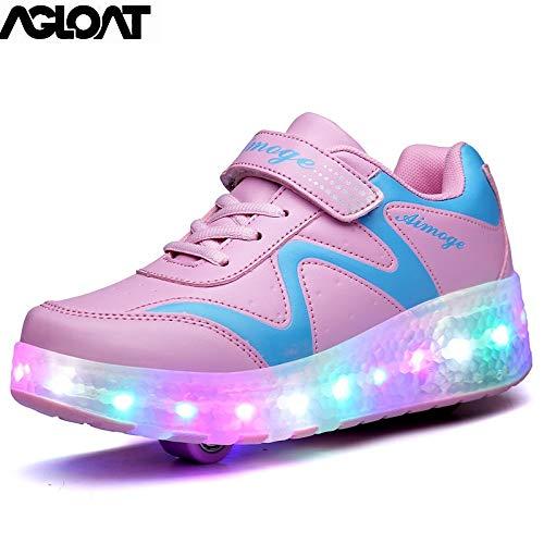 BGHKFF Roller Schuhe Kinder Junge Mädchen LED Schuhe Sneaker Mit Rollen Sportschuhe Schuhe Mit Rollen Damen,(B) Pink-38