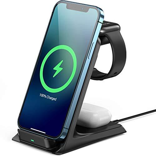 AGPTEK 15W Cargador Inalámbrico 3 en 1, Estación de Carga Inalámbrica Qi Soportes para iPhone 12/12 Mini/12 Pro/11/11 Pro/X/XS MAX/, Samsung Galaxy S8/S9/S10/S20, Airpods Pro,Apple Watch SE/6/5/4/3/2