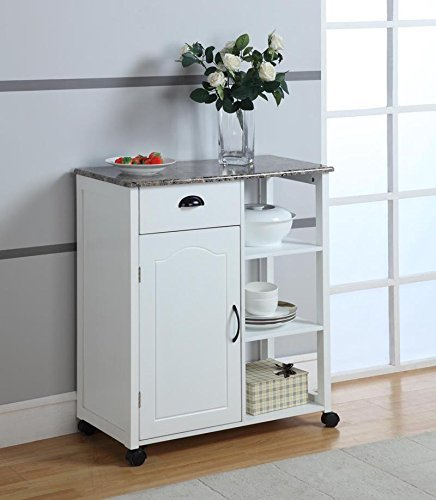 King's Brand White Finish Wood & Marble Vinyl Top Kitchen Storage Cabinet Cart