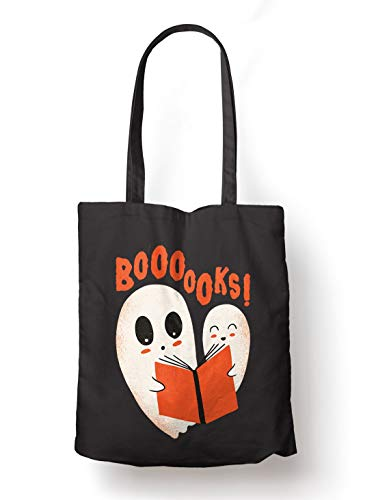 BLAK TEE Ghost Reading a Book Organic Cotton Reusable Shopping Bag Black