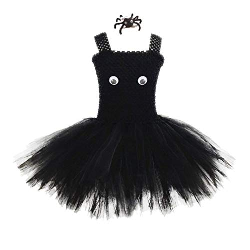 Amosfun Falda de tutú de Halloween para niñas con Pinza de Pelo de araña Conjunto de Disfraces de Halloween Lindo Disfraz de Fiesta de Disfraces de Cosplay de Halloween (Talla s)