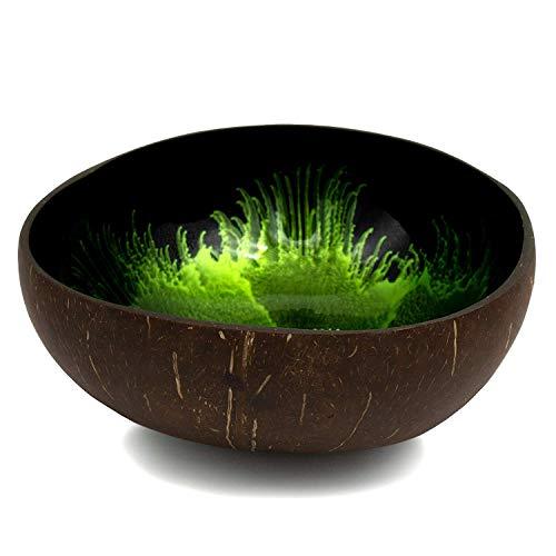 cocovibes Deko Schale aus 100% ECHTER Kokosnuss / Coconut Bowl für Schlüssel, Muscheln & Dekoration / Jede Dekoschale ein Unikat / Schüssel rund lackiert grün schwarz, Durchmesser 12 - 14 cm