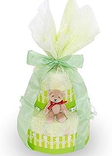 出産お祝いに!【くまのおむつケーキ】おむつケーキ 可愛い 豪華 マスカット グリーン 赤ちゃんへの内祝い 可愛いオリジナルメッセージカード付き! 好きな文章を印刷してお贈りします! パンパースMサイズ 日本製 テディベアのキーホルダー付き 女の子 男の子 ダイパーケーキ (2段)
