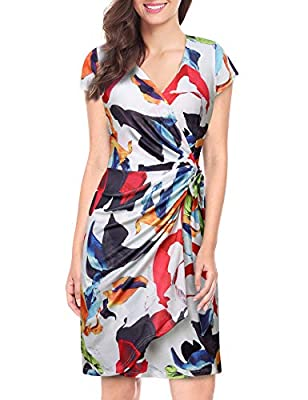 Lotusmile Women Floral Print Dress,Elegant Cap Sleeve V Neck Wrap Dress with Belt