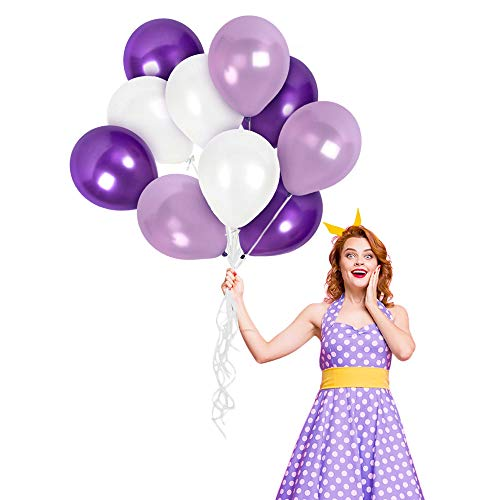 Metallic Assorted Pearl White Dark Purple and Light Lavender Balloon Garland 100 Pieces Thick Chrome Latex 12 Inch for Wedding Anniversary Bachelorette Bridal Shower Mardi Gras Birthday and Graduation