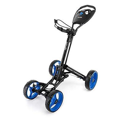 SereneLife 4 Wheel Golf Push Cart - Lightweight Folding Walking Push Cart Roller Golf Bag Holder w/Foot/Handle Brake, Upper/Lower Bracket w/Elastic Strap, Scorecard/Cup/Bag Storage Holder SLGZ36