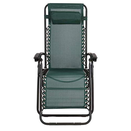 OLDING Zero Gravity Zonnestoel Chair Garden zonnebank Reclining- olding Light Rame - Perect of Huis, Tuin, Patio, vloeren, Holiday, Beach (Kleur: Blauw) zhihao (Color : Green)