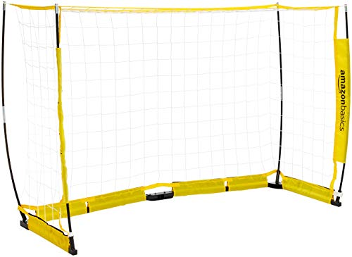 Amazon Basics Portable Easy-Up Soccer Goal - 4 x 8 Feet, Yellow