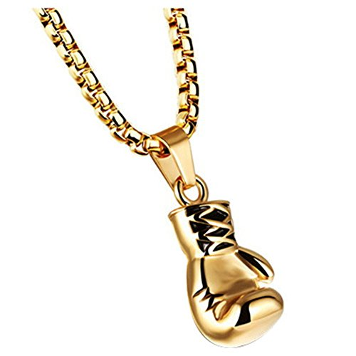 Onefeart Edelstahl Anhänger Halskette Für Unisex Hip-hop Rock-Stil Boxhandschuhe Anhänger Gold