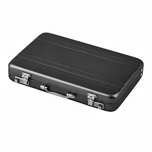 YoBuyBuy Mini maletín Estuche para tarjetas de visita Titulares de identificación Contraseña Portatarjetas de crédito de aluminio 96 x 82 x 16 mm