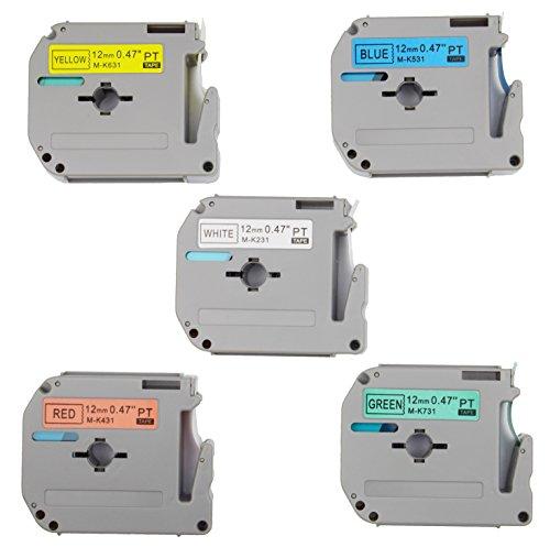 5-Pack Compatible P-Touch M Tape Combo Set M231 M431 M531 M631 M731 Label Tape, Replace for P Touch PT-70BM,PT-M95,PT-90,PT-70,PT-65,PT-70SR,PT-85, 1/2 Inch x 26.2 Feet(12mm x 8m),Black on White