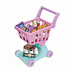Shopping cart and play food set sized perfectly for small hands and bigger imaginations! Adjustable handle is easy to grab and great for various heights, and the durable plastic wheels (that won't leave scratches) are easy to push on carpets or hard ...
