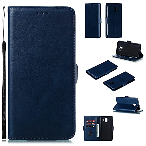 Teléfono Flip Funda Funda de billetera telefónica para Samsung Galaxy J4 2018 / J400, Vintage premium PU Funda de billetera de cuero con soporte de la tarjeta de la correa...