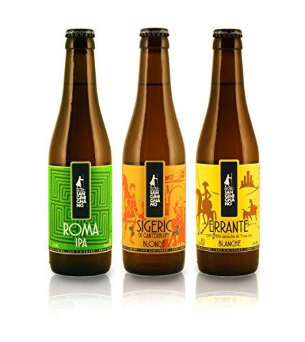 Mix de Cervezas artesanas Italianas: Sigeric, Errante y Roma - Pack de 12 Botellas de 33cl (Paquete de 12 Piezas)