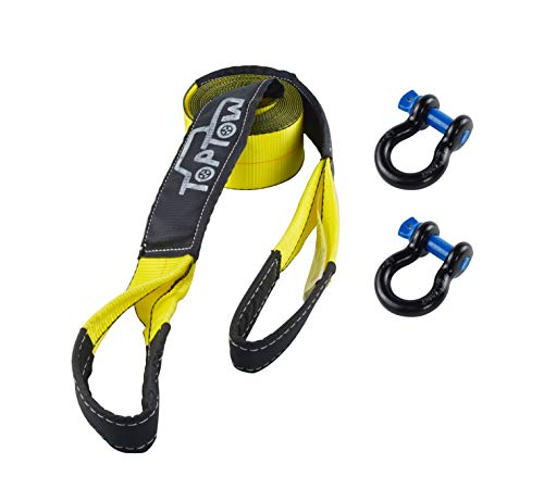 "TOPTOW 63715 Tow Strap Recovery Kit - Tow Strap 3"" X 20 feet Vehicle Tow Strap with 2 Packs of 3/4"" Bow Shackle 4.75T, Reinforced Proctive Loops - Emergency Off Road Truck Accessories"
