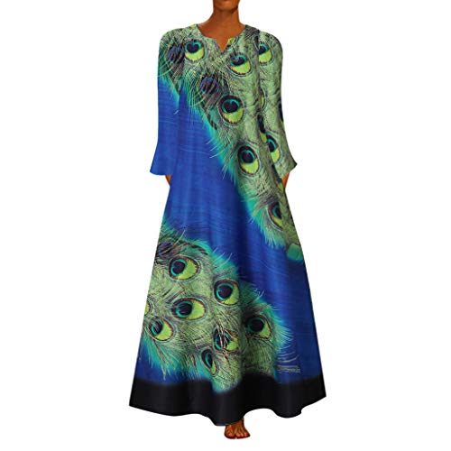 Vectry Damen Maxiklänning långa ärmar lång klänning överdimensionerad fritidsklänning tryck daglig klänning ledig ledig ledig fodral klänning lätt höstklänning V-ringad festklänning stor storlek plus size klänning