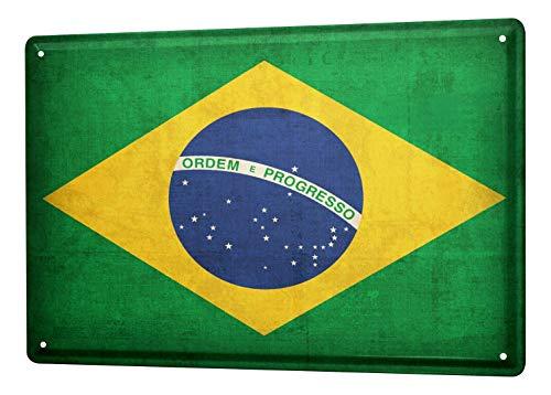 LEotiE SINCE 2004 Blechschild Dekoschild Küche Garage Welt Reise Brasilien Flagge Wand Deko Schild 20X30 cm