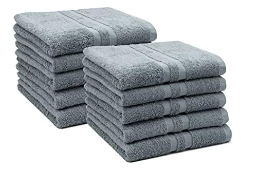 ZOLLNER Juego de 10 toallas de mano, 50 x 100 cm, 100% algodón, 450 g/m², color gris
