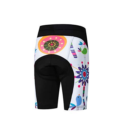 Jpojpo Fahrrad-Shorts für Kinder, kurze Hose, 4D-Gel-gepolsterte Fahrradhose M blume