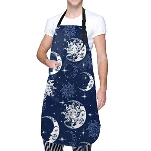 RAUP Tablier Unisexe, modèle réglable Durable imperméable Sun Moon Stars Space Tabliers de Cuisine Tabliers pour Femmes avec Poches pour Lave-Vaisselle Barbecue Grill Restaurant Garden