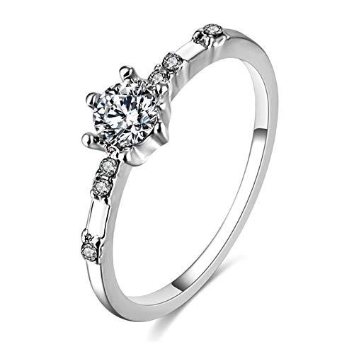 Jewelry for women Rose Gold Color Twisted Classical Cubic Zirconia Wedding Engagement Ring gifts for women (Main Stone Color : Lemon Yellow, Ring Size : 6)