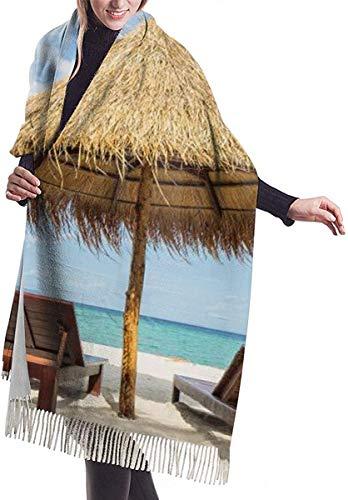 Vacation In Tropical Beach Sillas Paraguas y Palmas Suave Chal de cachemira Bufandas largas Bufandas para mujeres Oficina Fiesta Viaje 68 x 196 cm