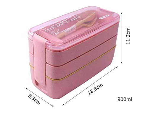 LAKIND Lunchbox Brotdose Bento Box Vesperdose für Kinder und Erwachsene Mit 3 Fächern Auslaufsicher Mikrowelle Gefertigt aus Weizen Biologisch Abbaubar Plastikfrei BPA Frei(rosa)