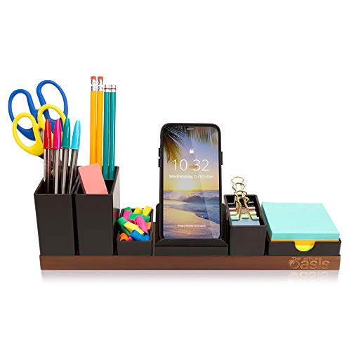 Desk Organizer with Adjustable Pen Holder, Pencil Cup, Phone Stand, Sticky Note Tray, Paperclip Storage, and Office Accessories Caddy, Desktop Organization for Cubicle or Home Office, Brown