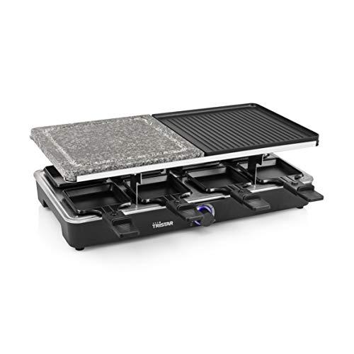 Tristar RA-2723 Raclette mit Bratfläche, 1400 Watt Leistung, 2 x 23 x 23 cm, für bis zu 8 Personen