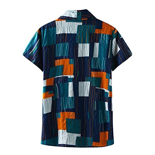 Camisa de manga corta para hombre, de verano, con solapas, con estampado de flores, para el tiempo libre, para la playa A_azul. L