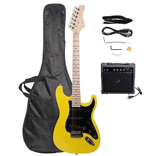 ISIN Full Size Electric Guitar for Beginner with Amp and Accessories Pack Guitar Bag (Yellow)…