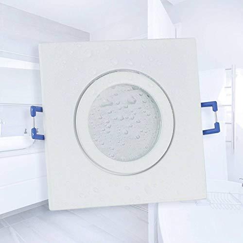 LED Einbaustrahler weiß - eckig flach 5 Watt warmweiß 230V IP44 – geeignet für Bad, Küche, Sauna, Außenbereich – Ø60-70mm Bohrloch – elegantes Design, hochwertige Verarbeitung,