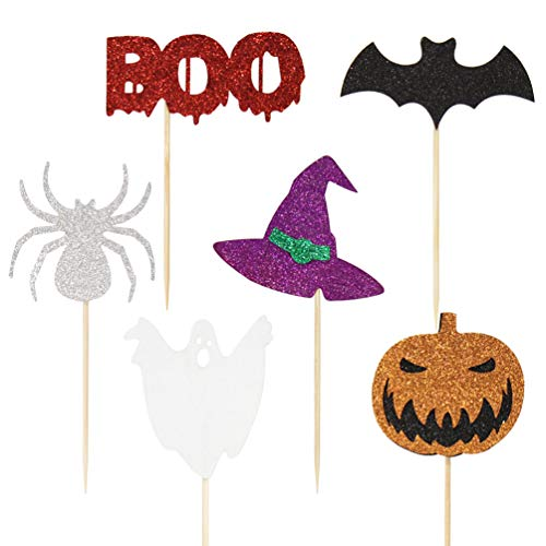 NUOBESTY 18pcs Halloween Cake Topper Glitter Pumpkin Spider Witch Cupcake Pick Cake Top Decoration Party Favors for Muffin Food Fruit -  5652IE4V13WTLX