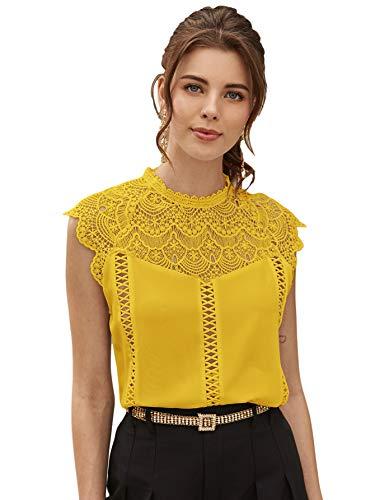 SheIn Women's Elegant Cap Sleeve Keyhole Contrast Lace Blouses Tops Mustard Yellow Medium