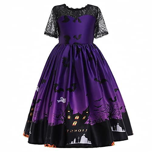 FEESHOW Kinder Mädchen Halloween Kleider Festliche Kürbis Hexe Drucken Kleid Elegant Abendkleider Party Prom Kleid Swing Rock A-Linie Type C...
