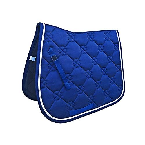 Tapis De Selle Cheval Equitation, Tapis de Selle de Dressage carré en Daim-bleu (69x52cm/27.2x20.5inch)