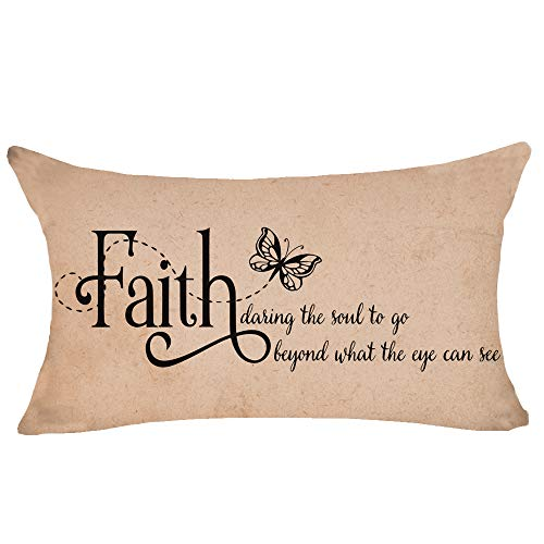 NIDITW Inspirational Quotes Faith Daring The Soul to go Cotton Burlap Decorative Rectangle Throw Lumbar Waist Pillow Case Cushion Cover for Couch Living Room 12X20 inches (AA)