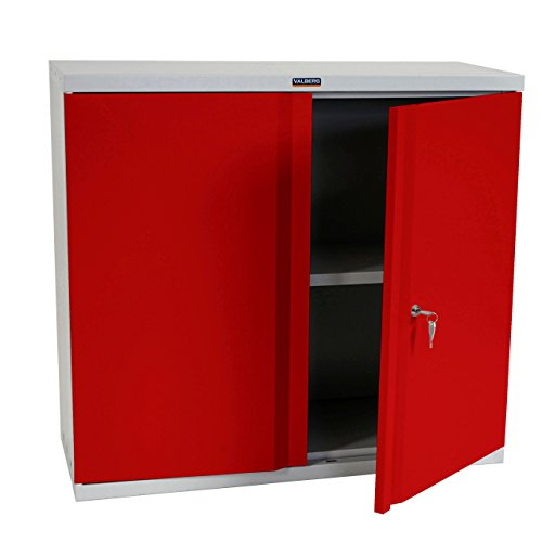 Valberg Aktenschrank T330, Metallschrank Büroschrank Stahlschrank, 2 Türen 84x92x37cm ~ rot