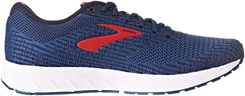 Brooks Mens Revel 3 Running Shoe, Poseidon/Navy/Red, 47.5 EU