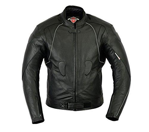 Giacca Rinforzata per Motociclismo e Racing - in Pelle di Alta qualità - Certificazione CE - Nera